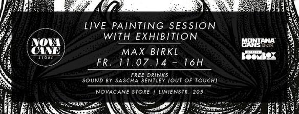 Max Birkl, kostenlose Getränke und Live Musik bei der Live Painting Session