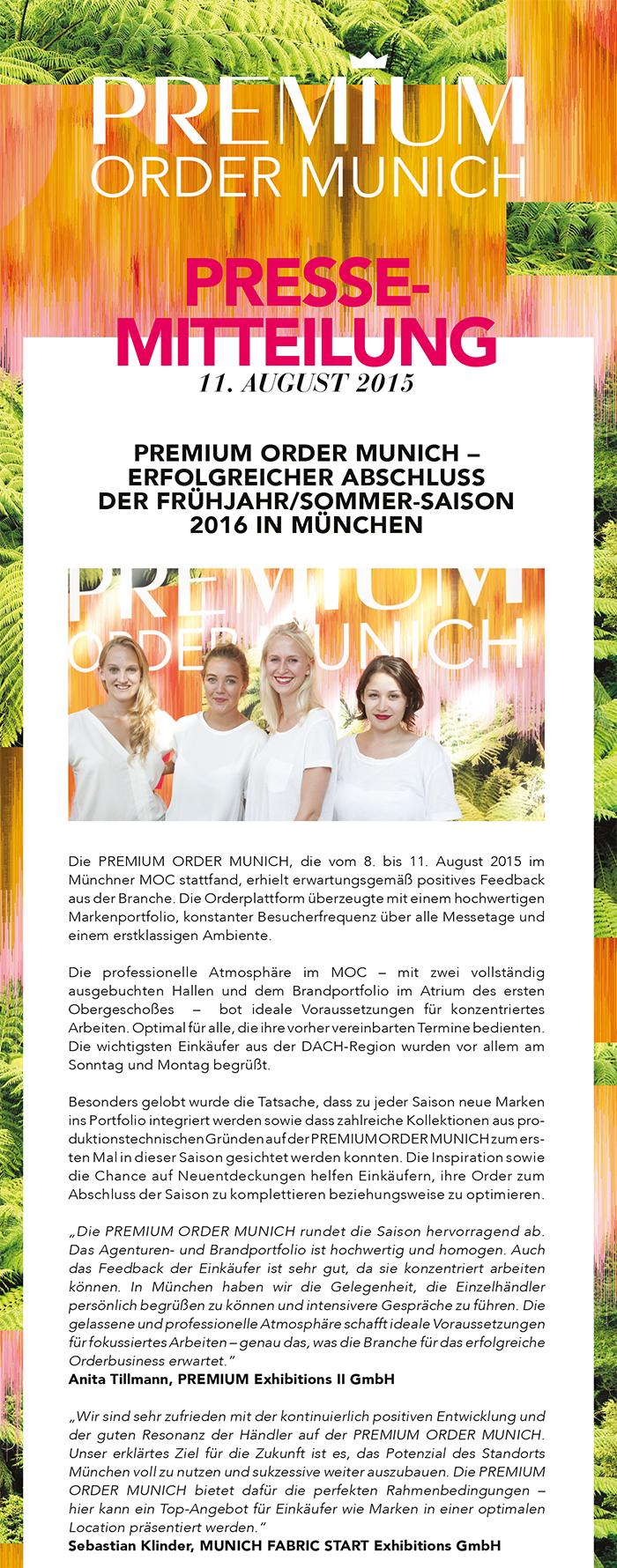 Premium Order Munich